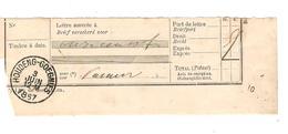 Fragment D'un Document Postal De 11 Cents Frs C.Houdeng-Goegnies 3/6/1887 Superbe PR3966 - Documents Of Postal Services