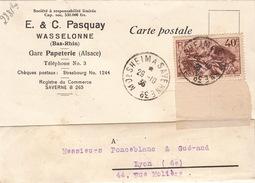 CARTE.  RECOMMANDE.  29.10.36.   E & C PASQUAY WASSELONNE BAS-RHIN POUR LYON.  AMBULANT MOLSHEIM A SAVERNE. / 95 - 1921-1960: Moderne