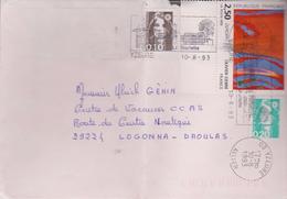 2,50f Europa 1993 Olivier Debré: De Yzeure à Logonna-Daoulas - Marcophilie (Lettres)