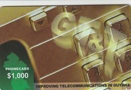 Guyana - GT&T, Logo And Map - $ 1.000 - Guyane