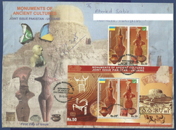 PAKISTAN POSTAL USED AIRMAIL FDC  JOINT ISSUE WITH UKRAINE MOUNMENTS OF ANCIENT CULTURES MOEN JO DARO TRYPILLIA