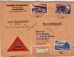 LETTRE SAARBRÜCKEN.   21 7 56. RECOMMANDE POUR HOMBURG-HAUT MOSELLE.  CONTRE REMBOURSEMENT DE 170Frs  / 95