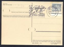 Germany Deutschland 1959 Card: Cavallo Horse Pferd Cheval Equestrian; Reit Und Spring Turnier Iserlohn Waldstadt Slogan