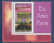 = Timbre Arc De Triomphe J'aime Paris Type Gommé -20g De Feuillet Y & T 3599A  Spink 72 - Sellos Personalizados
