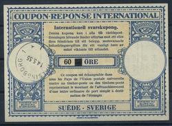 SVERIGE / SWEDEN London Type XVa  60 / 50 ÖRE Intern. Reply Coupon Reponse Antwortschein IRC IAS O HÄLSINGBORG 14.5.55