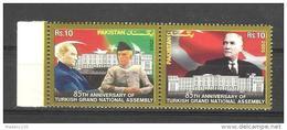 PAKISTAN, 2005,  85th Anniversary Of Turkish Grand Assembly,Turkey, Kamal Ataturk, Quaid-e-Azam, 2v Setenant   MNH, (**)
