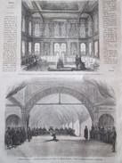 GRAVURE 1867. Exposition Universelle Ottomane Interieur Kiosque Au Bord Du Bosphore  Turquie  + Theatre  Galilee Ponsard - Non Classés