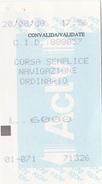 VENEZIA /  Biglietto Di Corsa Semplice Navigazione Ordinario _ Lire 6.000 - Bus