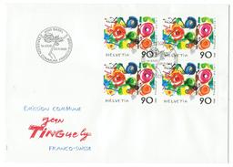 Suisse // Schweiz // Switzerland // 1988  // Jean Tinguely, Emission Commune Suisse-France Bloc De 4