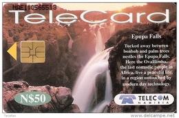 NMB-186 TARJETA DE NAMIBIA DE EPUPA FALLS DE N$50 CASCADA-CATARATA-WATERFALL (RARA)