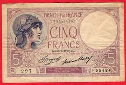 -- BILLET 5 FRANCS  VIOLET -- - 1871-1952 Circulated During XXth
