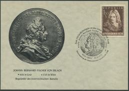 """ÖSTERREICH / Karte Mit ANK 1037 Und Sonderstempel """"Zum 250. Gedächtnisjahr An Den Sohn Der Stadt Graz Fischer V. Erlach"""""""
