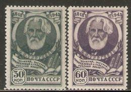 Russia / Soviet Union 1943 Mi# 883-884 * MH - Ivan Turgenev