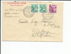 """Lettre Suisse, Bureau De Poste Automobile, Linéaire """"La Chaux De Fonds Place Du Marché"""" (17.6.37)"""