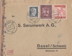 DR Brief Mif Minr.781,858,861 Dresden 25.10.43 Gel. In Schweiz Zensur - Briefe U. Dokumente