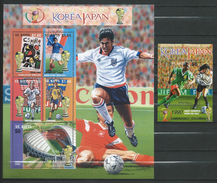 St.Kitts 2002 Football World Cup - Japan And Korea.2 S/S.MNH. Spain.France.United States.Sweden.CAMEROON.COLOMBIA.