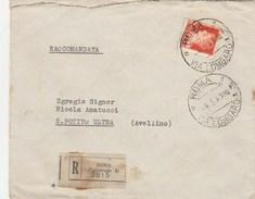 5984.   Busta Raccomandata Da Roma (succursale 1) 3815 Via Lombardia A S. Potito Ultra Avellino 1943 - 1900-44 Vittorio Emanuele III