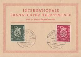 Bund Anlasskarte Int. Frankfurter Messe 17.-22.9.50 Mif Minr.121,122 SST Frankfurt 17.9.50 Gelaufen In Die Schweiz - BRD
