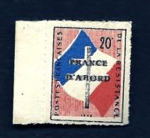 TIMBRE FRANCE- LIBERATION DE LYON-  NEUF**- PERCÉ EN LIGNE AVEC BORD DE FEUILLE- FRANCE D'ABORD- GOMME INTACTE- 2 SCANS