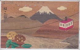 Télécarte Japon En BOIS / 110-011 - MONT FUJI &TELEPHERIQUE - Mountain & CABLE CAR WOOD Japan Phonecard - HOLZ TK - 11 - Paysages