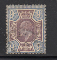 Great Britain Used #136 9p Edward VII Variety: Purple Dot SW Inner Frame