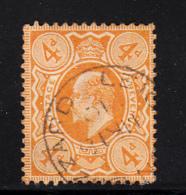 Great Britain Used #144 4p Edward VII Cancel: Leighton Buzzard MR 18 10
