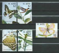 St. Kitts 2005 Butterflies.papillons.Block Stamps.MNH - St.Kitts-et-Nevis ( 1983-...)