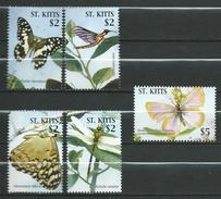 St. Kitts 2005 Butterflies.papillons.Block Stamps.MNH