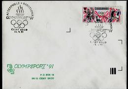 730-CZECHOSLOVAKIA (ČSR) Brief-letter Olympia 1992 Albertville-Barcelona Stamp Exhibition OLYMPSPORT 1991