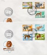 Hongrie 1981 2 Fdc Poste Aérienne100 Ans De La Naissance Du Zoologiste K. Kittenberger Lion éléphant Rhinocéros  (00578)