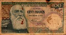 CONGO BELGE Et RUANDA-URUNDI 100 Francs Du 1-9-1960  Pick 33c - Congo