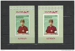 AJMAN  1969 Soccer Football  FC Milan  SS Perf.+imperf.  With Red Overprint  Rare! - Berühmte Teams