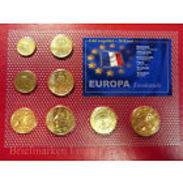 FRANCE 3,88 Euro KMS 1999-2002 Doré OR 24 Carats *UNC* (1Ct.-2 Euro) Sous Blister - France