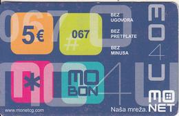 MONTENEGRO - Mo Net Prepaid Card 5 Euro, Exp.date 31/12/04, Used