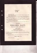 RENAIX RONSE AALTERT Edgard SAEY époux BELLOY 1886-1932 Capitaine Grand Invalide 14-18 Doodsbrief - Overlijden