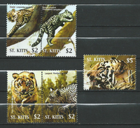 St. Kitts 2005 Wildcats.Big Cats (cats Of Prey)Fauna/Mammals/Tigers/Leopards/Ocelots/Panthera.stamps And Block Stamp.MNH