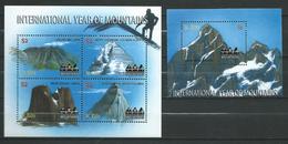 St. Kitts 2002 International Year Of Mountains.Canada.British Columbia,Japan.Alberta.2 S/S.MNH
