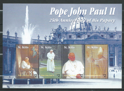 ST. KITTS 2004 The 25th Anniversary Of The Pontificate Of Pope John Paul II.S/S.MNH.