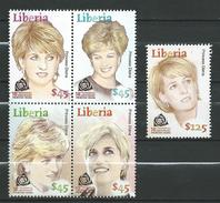Liberia 2007 The 10th Anniversary Of The Death Of Princess Diana, 1961-1997.stamps & Block Stamp.MNH