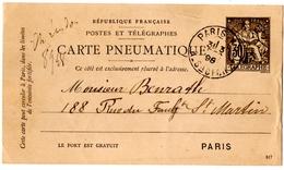 CARTE PNEUMATIQUE. ENTIER. PARIS. RUE SAINTE CECILE Sur CHAPLAIN 30c. 1898.