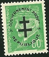 FRANCE LIBERATION .RR..PARIS  80c** Vert  Gouvernement Provisoire. Signé MAYER