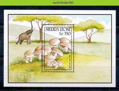 Ndk031 FLORA PADDESTOELEN OLIFANT ELEPHANT ELEFANT MUSHROOMS PILZE CHAMPIGNONS SETAS FUNGHI SIERRA LEONE 1990 PF/MNH