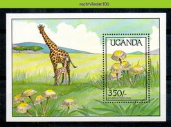 Ndk033 FLORA PADDESTOELEN GIRAF GIRAFFE MUSHROOMS PILZE CHAMPIGNONS SETAS FUNGHI UGANDA 1989 PF/MNH