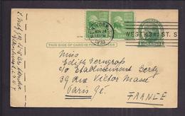 CARTE ENTIER POSTAL JEFFERSON USA Tàd 24 11 1939 NY West 43 Rd ST