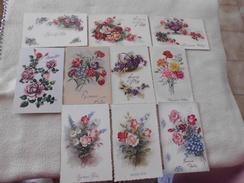 Lot De 10 Cartes FANTAISIES.ILLUSTRATIONS ..FLEURS .....BONNE FETE - Cartes Postales