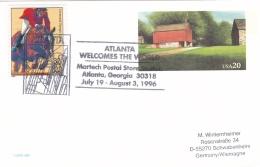 USA Postal Stationary 1996 Atlanta Welcomes The World (G69-7A)