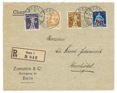 Suisse // Schweiz // Switzerland // 1907-1921  //  Devant De Lettre Recommandé Pour Neuchâtel