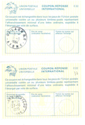 2 Coupon-réponse France Modèle Lausanne - Laon 1975 & 1984 - Coupons-réponse