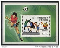 Côte D´Ivoire, BF N° 24** Y Et T, Bloc-feuillet, Résultats De La Coupe Du Monde 1982