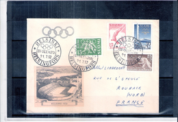 JO 1952 Helsinki - Document Voyagé Vers La France (à Voir)